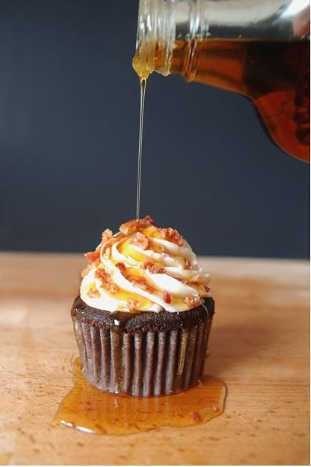 Top 10 Cupcake Flavors for Men  ~  Like Chocolate Bacon Cupcakes with Maple Frosting, Irish Car Bomb Cupcakes, Bourbon Cupcakes, Caramel Popcorn Cupcake.......