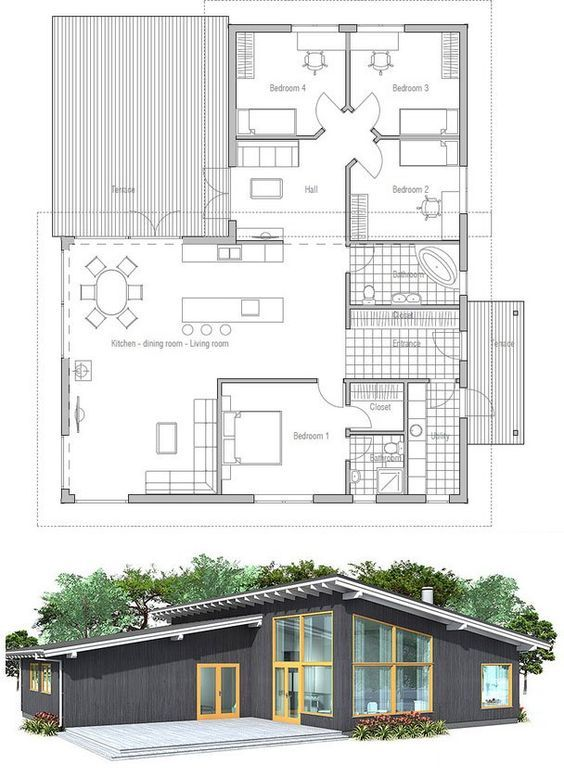 Great Modern House Plan With High Ceilings. Three Bedrooms And Separate TV Area  For Kids. Simple Shapes And Lines, Affordable Building Budget.