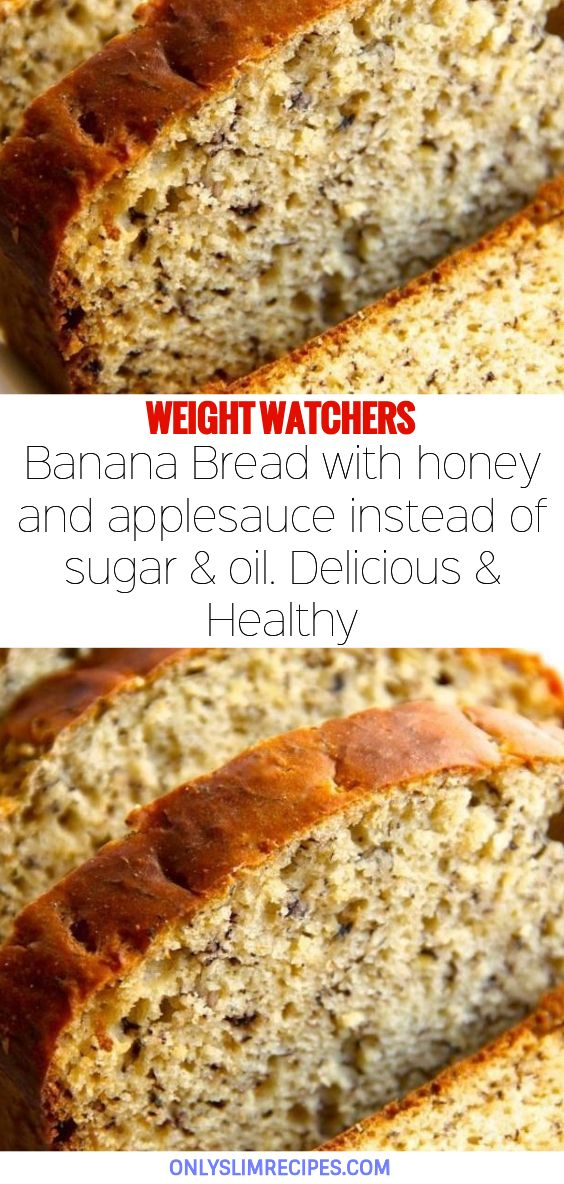 6d5e91abd19437db187bb0cc2a421b23 Banana Bread with honey and applesauce instead of sugar & oil. Delicious & Healthy
