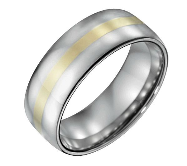 Steel By Design Men S 8mm Polished Ring W 14k Gold Inlay Qvc Com Anillos Para Hombres Anillos Hombres