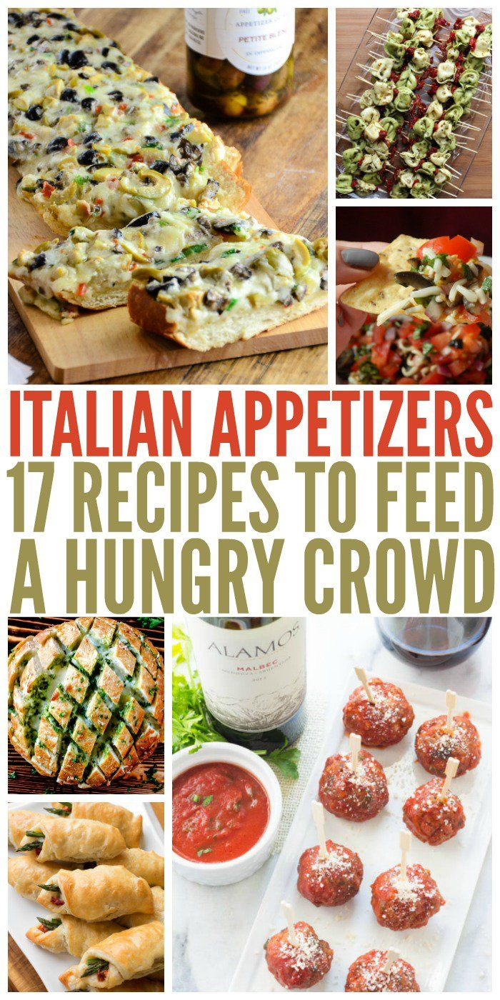 Who doesn't love Italian food? These appetizers will be sure to please any Italian food lover. In fact, they may not save any room for dinner.