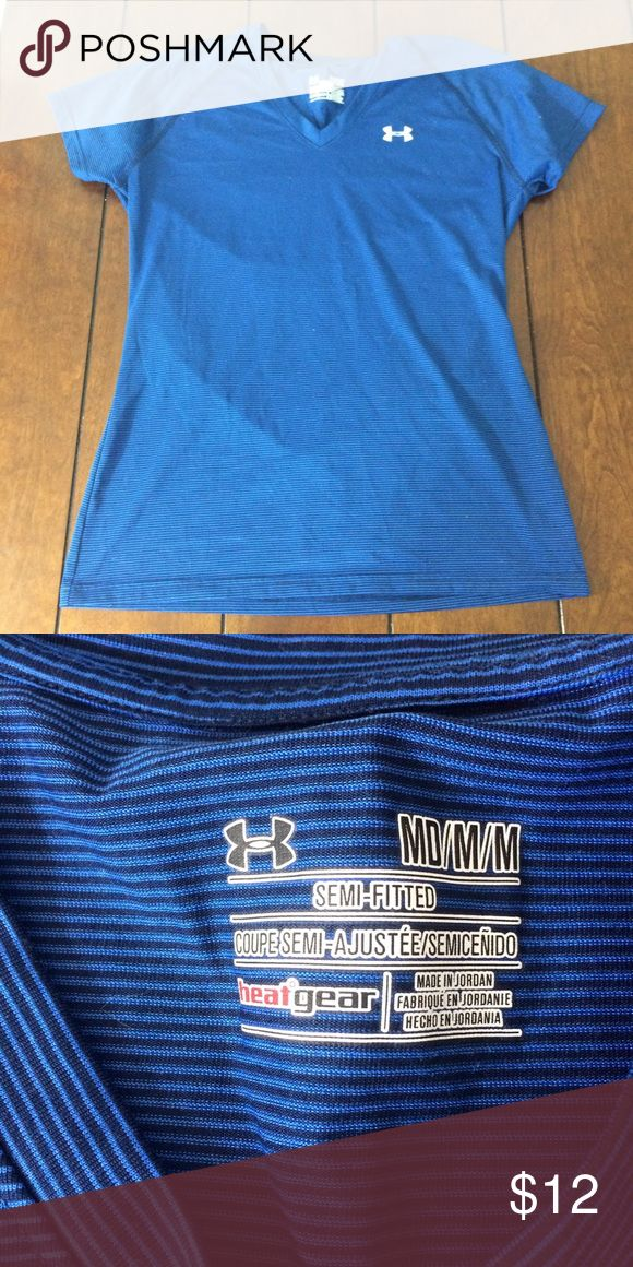 Under armour tee Woman's size medium blue semi fitted under armour tee. Light wear. Under Armour Tops Tees - Short Sleeve