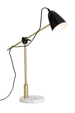 Ellos Home Bordslampa Preston Vacker och stilfull bordslampa i trendig materialmix. Fot av marmor, ledad stång av mässingfärgad metall. (längd 60 cm) och skärm av plåt med vit insida. Höjd 50 cm. Fot Ø 20 cm. Textilkabel med strömbrytare, längd 2,3 m. Stor sockel E27. Max 40W. Väggkontakt. <br><br>