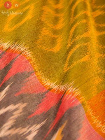 Green Handwoven Cotton Silk Pochampally Saree - HolyWeaves - 2