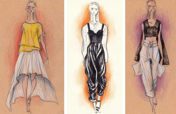 Fashion sketches by Elisa Gibaldi inspired by Chalayan summer 2018 collection