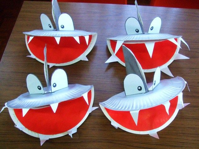 Shark craft with paper plates under the sea beach themed for Art and craft books for kids