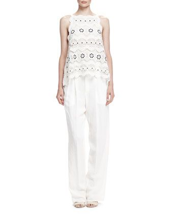 Spring Guipure Lace Top and Rustic Linen Straight-Leg Pants by Chloe at Bergdorf Goodman.