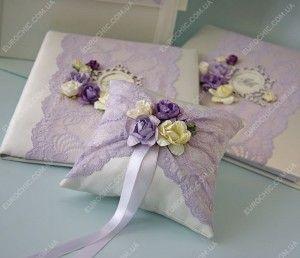 Подушечка для колец Сиреневая нежность нежное кружево, очаровательные цветы для свадьбы в пастельных лиловых оттенках, набор от Шик Европейский
