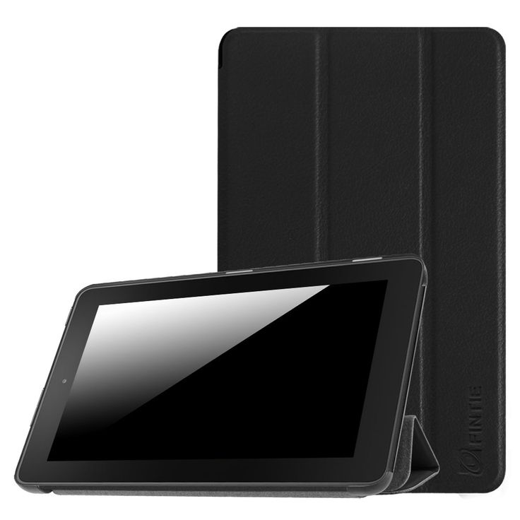"""Fintie SlimShell Case for Fire 7 2015 - Ultra Slim Lightweight Standing Cover for Amazon Fire 7 Tablet (will only fit Fire 7"""" Display 5th Generation - 2015 release), Black"""