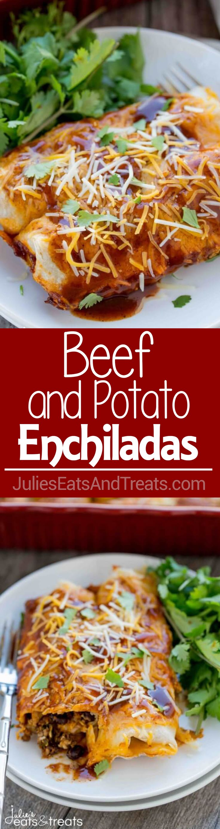 Beef and Potato Enchiladas Recipe ~ Enchiladas loaded with delicious ground beef, crispy potatoes and tender vegetables! The Perfect, Easy Dinner Recipe! on MyRecipeMagic.com