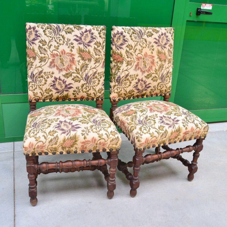 Coppia di sedie imbottite '800 in stile Luigi XIII con gambe e traversa rocchettate