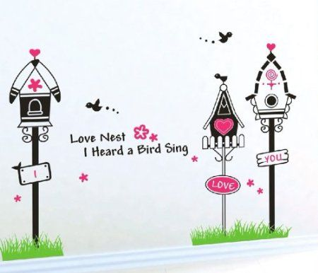 Wall Decals - YYone Three Nests on Grass Flying Birds Decal for Sitting Room Wall Decor Stickers