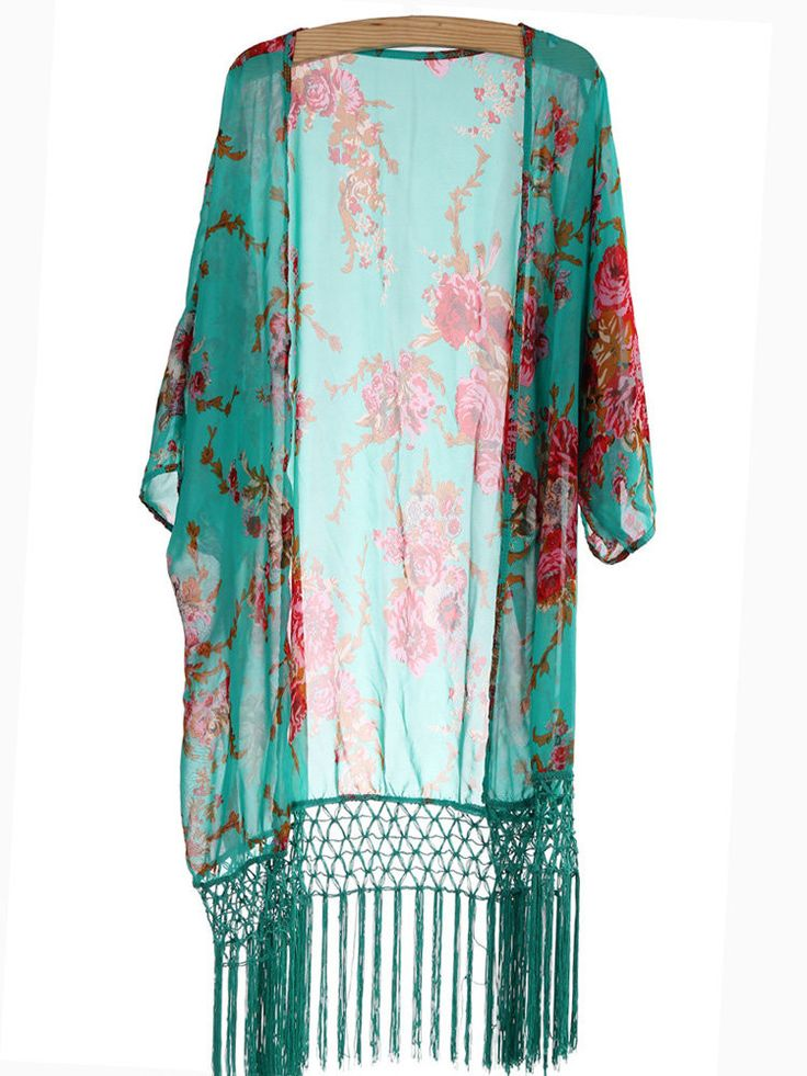 Style:Vintage Material:Chiffon Neckline:Open Sleeve Length:Half Clothing Length:LOng Pattern Type:Floral Package Included: 1*Cardigan