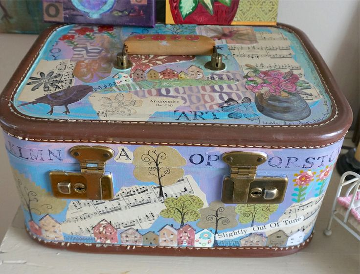 Old Suitcase with Mixed Media by Marji Stevens  www.marjistevens.com
