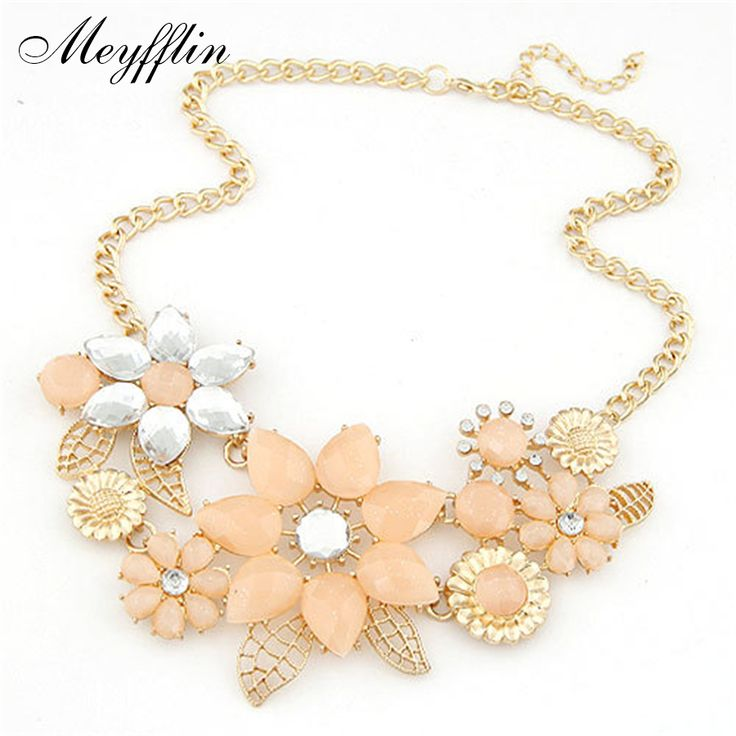 Fashion Statement Necklaces & Pendants for Women Crystal Flower Necklace Gold Choker Collier Femme 2017 Colar Jewrelry Collares