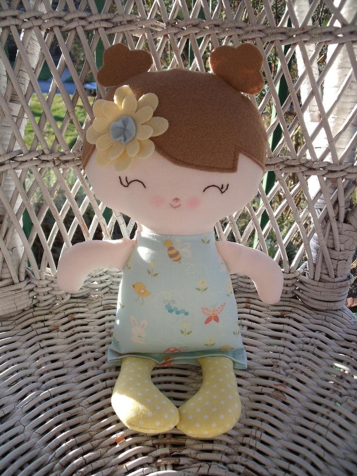 A handmade cloth doll--my friend Beatrice  www.facebook.com/dandelionwishesbymimi  www.dandelionwishesmimi.etsy.com