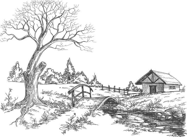 Coloriage paysage campagne - D'autres coloriage sur http://www.coloriage-adulte.com