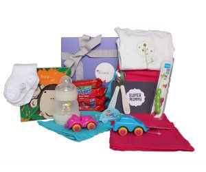 Nonabox featuring lots of gorgeous goodies including #littlegrippers baby socks with #stayontechnology