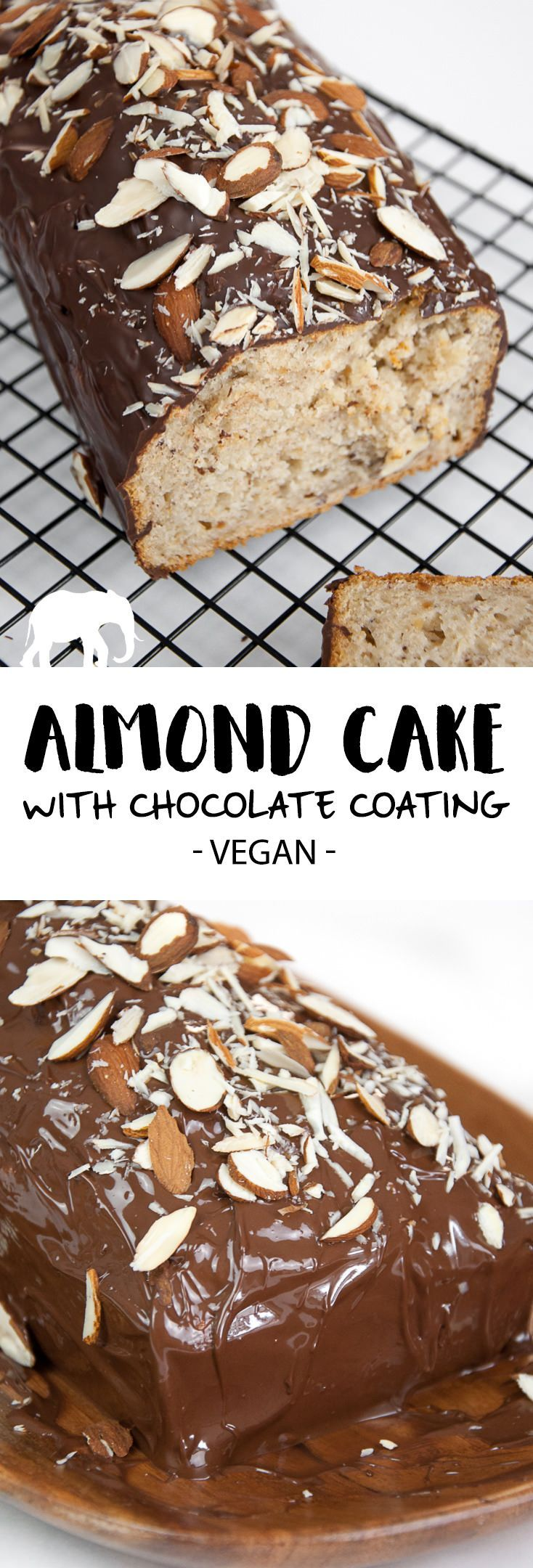 Almond Cake with Chocolate Coating via @elephantasticv