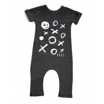 Rags to Raches X / O Romper - Dark Grey -The XO Rags to Raches romper is the perfect combination of edgy and cute. Made from a very soft, stretchy spandex/jersey knit fabric your child will be as comfortable and stylish as ever. BabyCubby.com