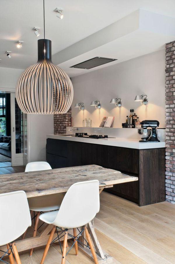 moderne küche toller leuchter ziegelwände