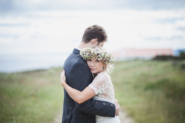 Simple But Incredibly Stylish Humanist Wedding At Scottish Coastal Venue Crear With Bride In Bespoke Gown By Flossy & Dossy With Jimmy Choo Heels And A Midsummer Nights Dream Inspired Flower Crown With Groom In Kilt And Bridesmaids In Gowns From Debenhams With Images From Tandem Photography%09