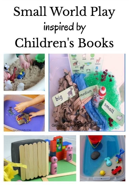 Small world play and sensory bins to extend children's stories. Each of the 24 play scenes is based on a favorite book for kids. Perfect for teaching kids about storytelling and retelling familiar stories.