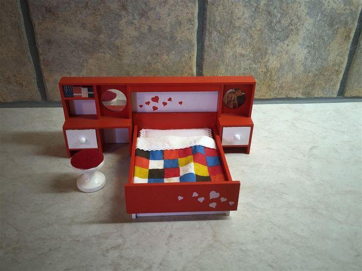 Lundby retro dubbel säng på Tradera.com - Lundbyskalan, dockskåp,