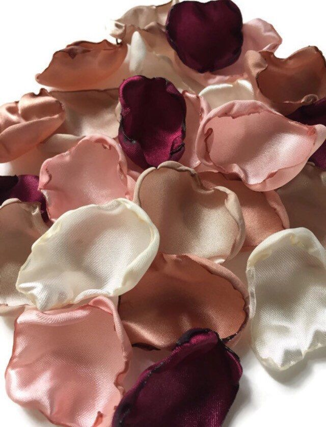 Marsala Maroon, blush pink, ivory, champagne,rose quartz mix of flower petals, Wine rose petals, rose gold table decor, flower girl petals by ShabVintiqueFlowers on Etsy https://www.etsy.com/uk/listing/489608616/marsala-maroon-blush-pink-ivory
