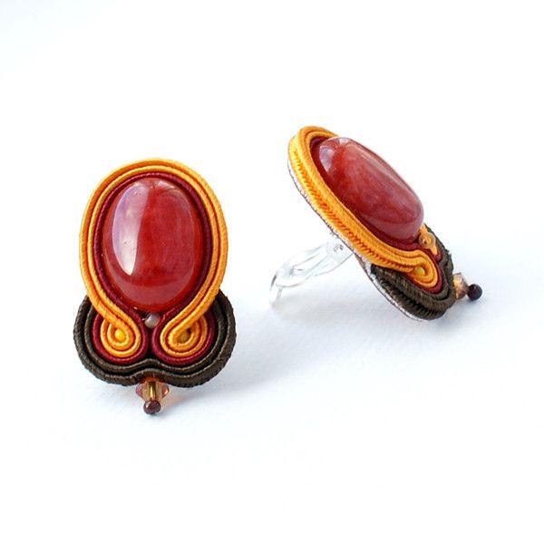 Ohrclips - Orange - Braun - ein Designerstück von Moniq-Monika bei DaWanda