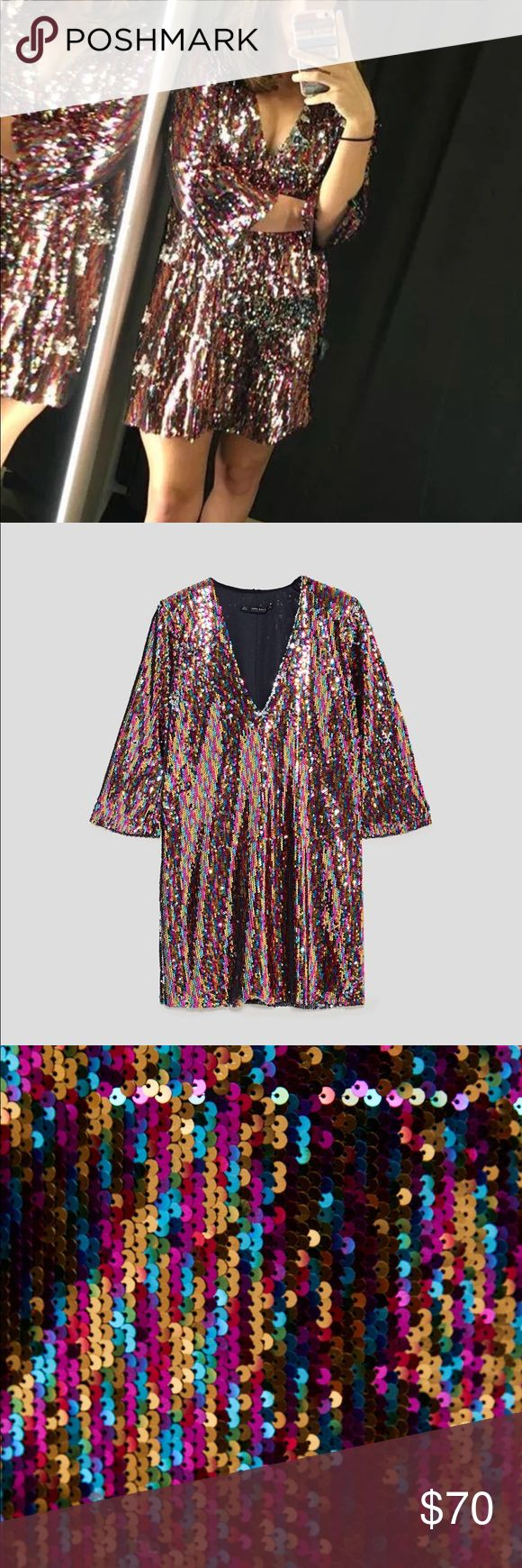 """ZARA MULTICOLORED SEQUIN MINI DRESS Zara multicolored sequin mini dress. Short sleeve. V neck. Multicolored sequins that when """"turned over"""" are silver. Fun party dress or going out dress. Zara Dresses Mini"""