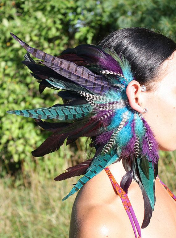 Handmade Large Feather Ear Cuff Feather Headpiece by Cloud9Jewels, this would be awesome for Halloween.