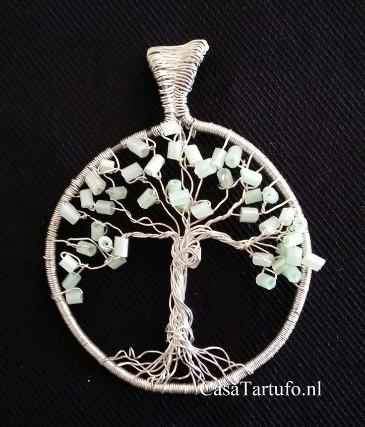 Wire Tree Pendant. 3.Silver wire with light green rods. (4 cm) Sold at…