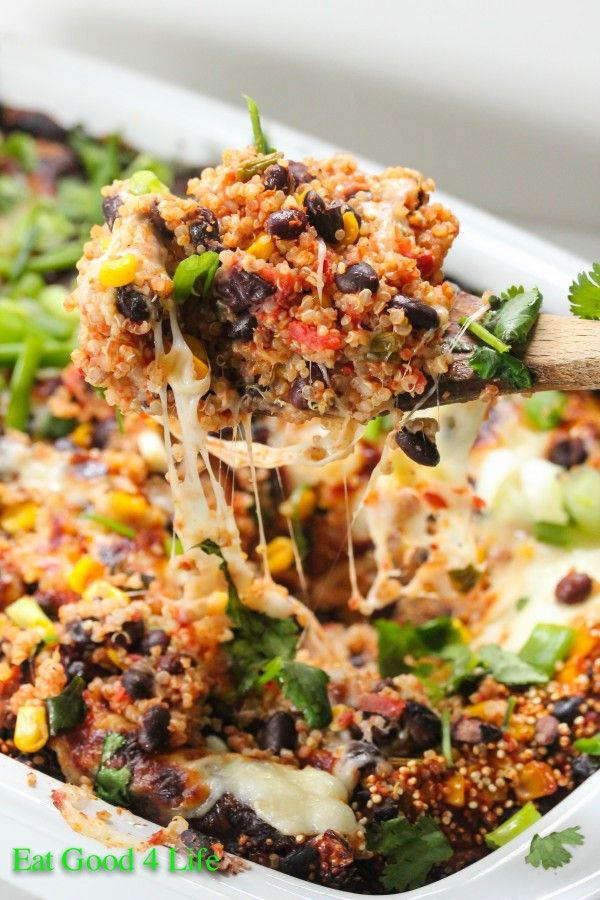 Tex Mex Quinoa Casserole. Everything gets mixed in a baking dish and baked, that is it. Prep time is just 5 minutes. Super easy. #glutenfree #cleaneating
