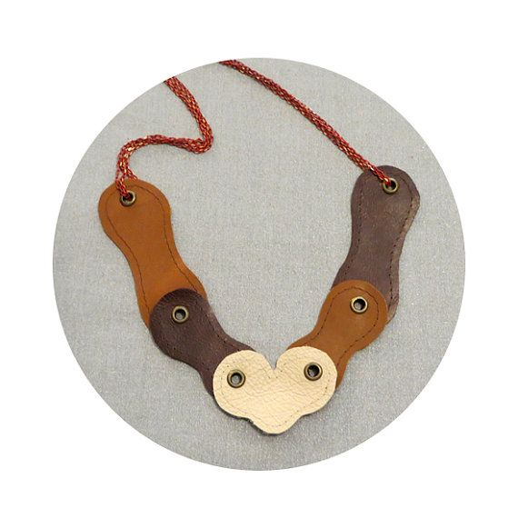 Leather Stud necklace by maayanhus on Etsy