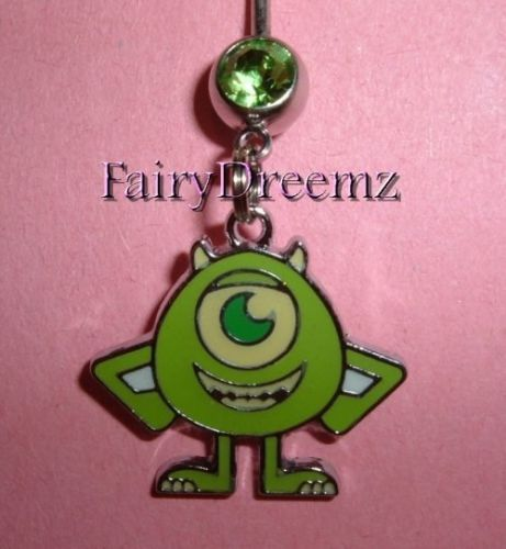 Monsters-Inc-MIKE-Wazowski-Disney-Belly-Ring-US-Seller