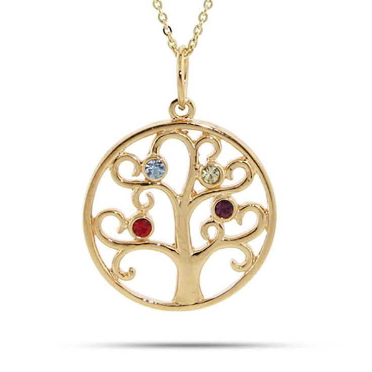 "This 4 Stone Gold Vermeil Family Tree Pendant is set in beautiful sterling silver.  A perfect gift for mom, she will enjoy her loved one's birthstones set into this family tree necklace.  This 4 Stone Gold Vermeil family tree pendant comes on your choice of a 16"" or 18"" gold rolo chain.  Customize this four stone family tree with your choice of 12 Swarovski Crystal birthstones.  This family tree pendant makes a perfect gift for Mother's Day, a gift for Grandma or any occasion!"