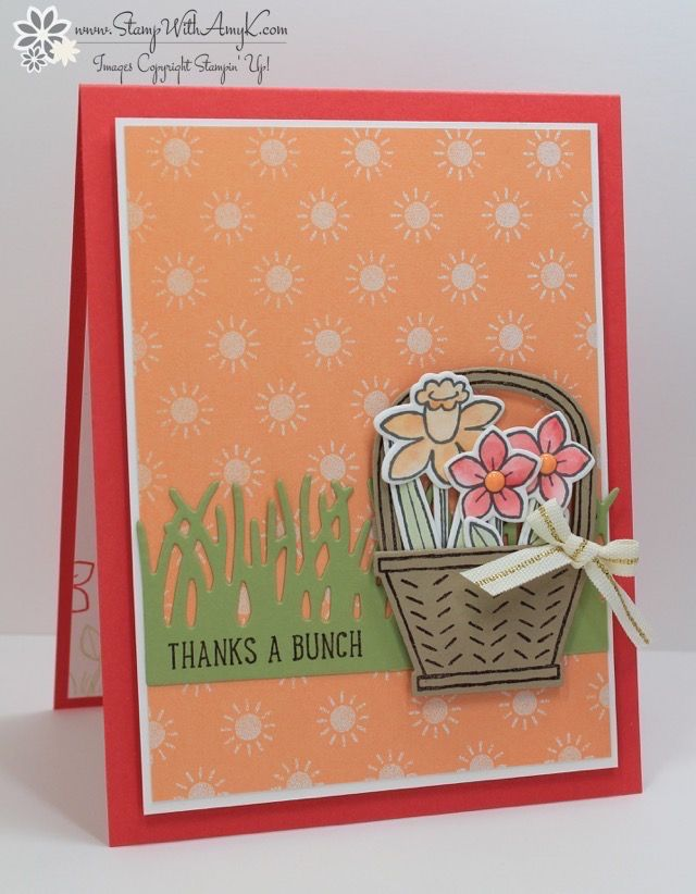 I used the Stampin' Up! Basket Bunch stamp set bundle from the upcoming 2017 Occasions Catalog to create my card to share today. My card design was inspired by My Favorite Things Wednesday Sk…