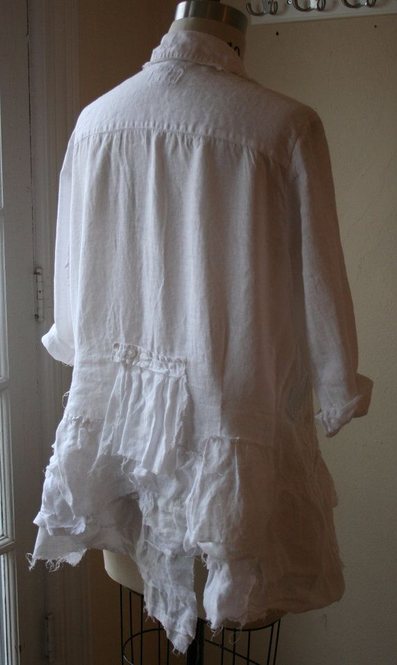 Use different whites for the ruffles - Linen Lagenlook Shirt / Breathe Again by BreatheAgainClothing
