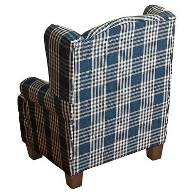 Anderson Juvenile Wingback Chair Kids Upholstered Chair And Ottoman Set Navy  (Blue)   Homepop