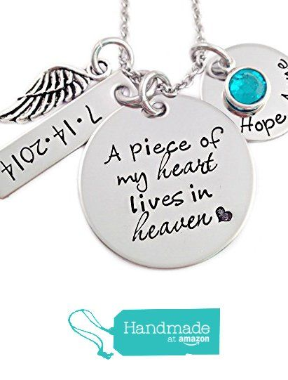 A Piece of My Heart Lives In Heaven Memorial Necklace - Hand Stamped Personalized Jewelry from Stampressions