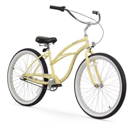 26 inch Firmstrong Urban Lady Three Speed Women's Beach Cruiser Bike, Vanilla, Beige
