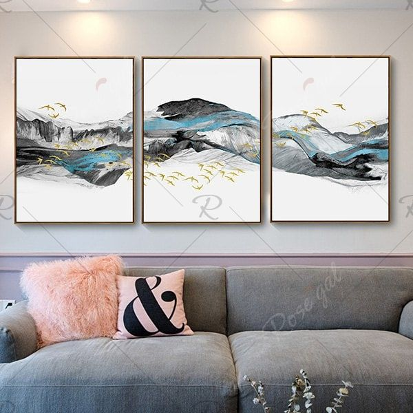 New Chinese Style Landscape Landscape Bird Decoration Painting Living Room Bedroom Study Triple Wall Painting Background Wall Decoration With Frame Wall Painting Canvas Wall Art Living Room Paint #painting #frames #for #living #room
