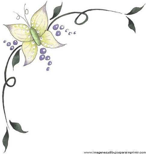 Borde con mariposas para decorar folios