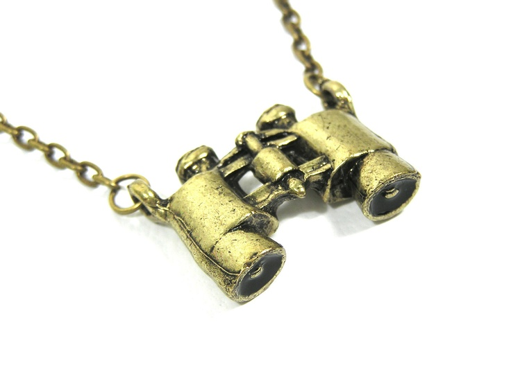 New Gold Vintage Binoculars Explorer Statement Charm Necklace Brass Bronze Tone | eBay