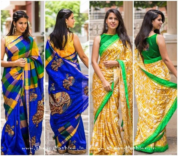 Indian sarees with sleeveless contrasting blouse designs #sarees #blouse #designersarees #sari