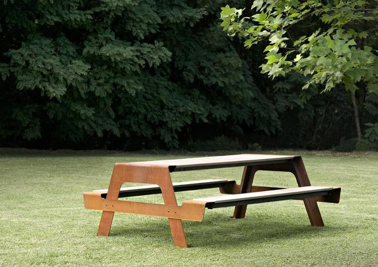"""OUTDOOR PIC-NIC table Materials:  Metal Base with Wood, Marble or Concrete Top + Seats Dimensions:  Pic 4: 55""""W x 71""""D x 30"""" H  Pic 6: 79""""W x 72""""D x 30"""" H  Pic 8: 102""""W x 72""""D x 30"""" H Options:  *Indoor or Outdoor ColoUR Options:  Iron finishes, Stainless Steel or Lacquered Colours - Please inquire as to custom finishes available"""