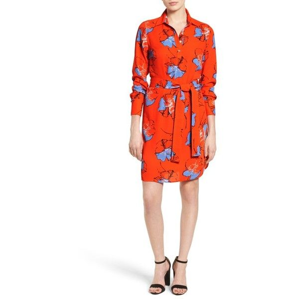Petite Women's Foxcroft Floral Print Shirtdress ($108) ❤ liked on Polyvore featuring dresses, floral print, petite, white floral print dress, white day dress, white shirt dress, long shirt dress and wrap dress