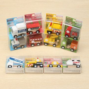 Movable Wooden Vehicles A Set of 12 Cute Wooden Mini Car2 Educational Toy Sale - Banggood.com