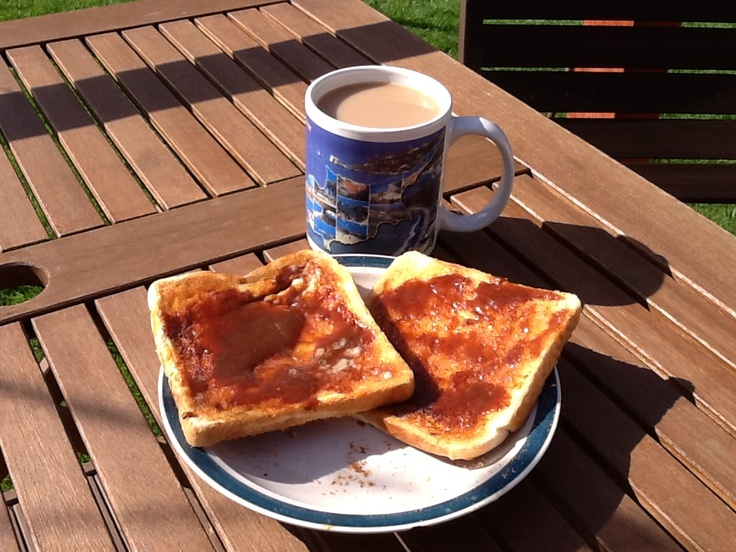 Cuppa tea and marmite on toast for breakfast outside on the decking in the sun............nice :-) xxx